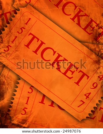 old orange tickets with a grunge touch upon it