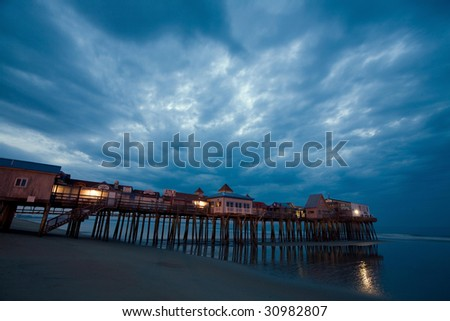 Old orchard beach pier - stock photo