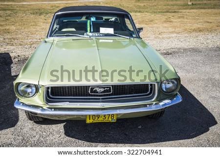 OLD ORCHARD BEACH, SEPTEMBER 26: Ford Mustang presented at the Motor Show on September 26, 2015 in Old Orchard Beach, Maine, USA - stock photo