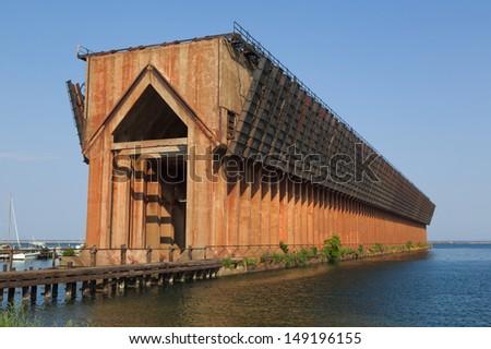 old ore dock in Marquette harbor - stock photo