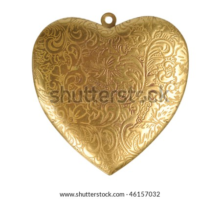 Old ornate golden heart isolated with clipping path over white - stock photo