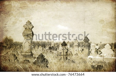Old orthodox graves of 19s century. Photo in old image style. - stock photo