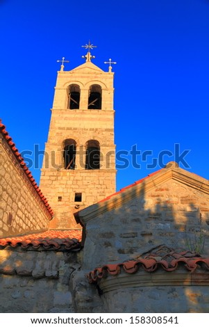 Old orthodox monastery near the Adriatic sea - stock photo