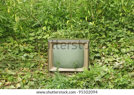 Old outmoded TV set in an environment of various green plants. Ecology concept - stock photo