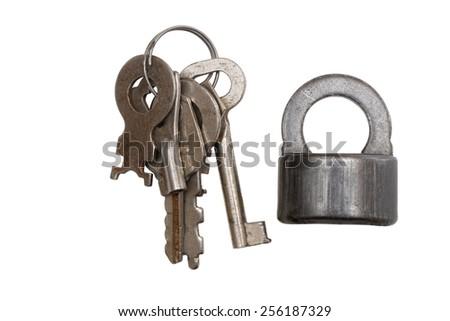 Old padlock and keys isolated on white - stock photo
