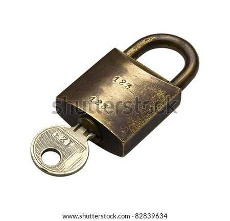 Old padlock isolated on white, clipping path included - stock photo