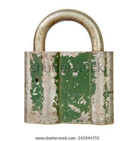Old padlock isolated over white background - stock photo