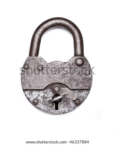 old padlock with key on a white background