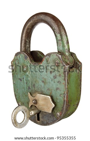 old padlock with key on a white background - stock photo