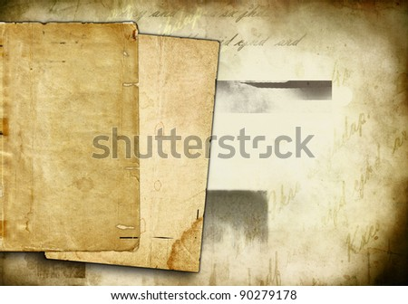 old pages on faded grungy background - stock photo