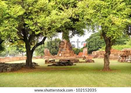 Old pagoda in Ayutthaya province , Thailand - stock photo
