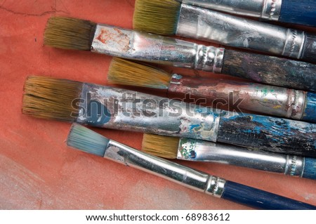 old paintbrushes - stock photo