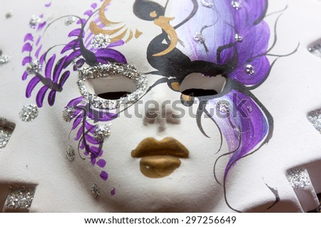 Old painted carnival mask - stock photo