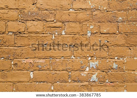 Old Painted Exterior Brick Wall
