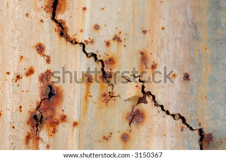 Old Painted Rusty Metal Surface. Background. - stock photo