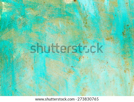 Old painted sheet iron painted with rust appeared on it. textural composition - stock photo