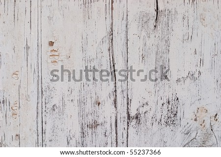 Old painted wooden surface. The paint is faded and cracked, you can see small cracks. Uniform illumination and a wide tonal range, sharpness is not increased. For any designer's purposes - stock photo