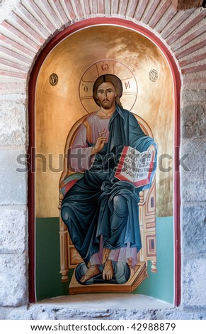 old painting of Jesus Christ in The Holy Monastery of the Great Meteoron, Greece - stock photo