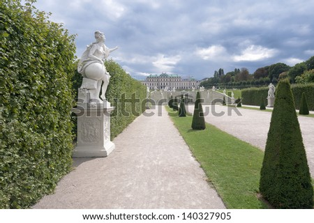 Old palace and garden Belvedere park in Vienna Austria - stock photo