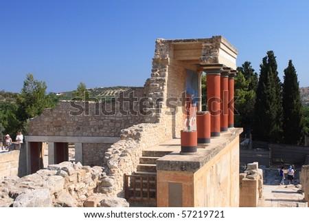 old palace ruins in Knossos - stock photo