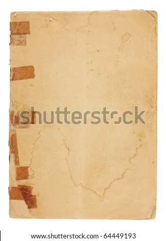 Old pamphlet  with very old, yellowed tape on broken binding.  Cover page is water stained, torn and yellowing with rough edges and dog-eared corners. Isolated on white with clipping path. - stock photo