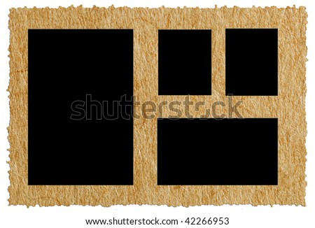 old paper against white background, edges are very frayed - stock photo