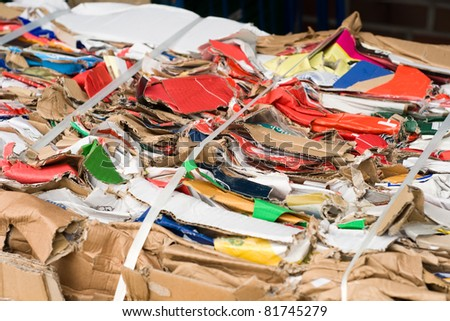 Old paper and cardboard packaging from supermarket. Labels removed - stock photo