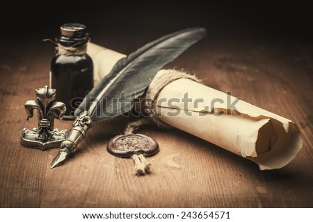 old paper and fountain pen  - stock photo
