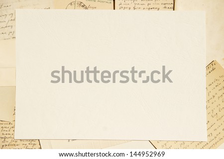 Old paper and letters background - stock photo