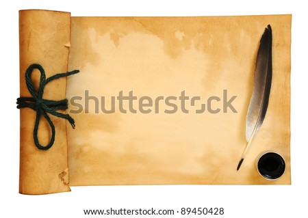 old paper and quill - stock photo