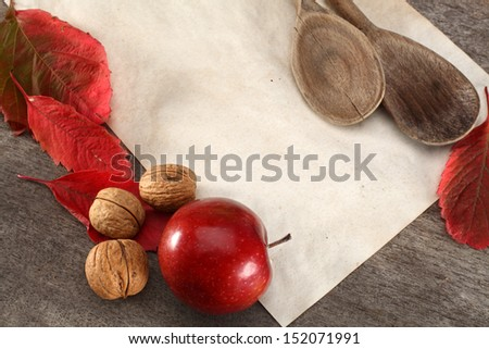 old paper and spoons  - stock photo