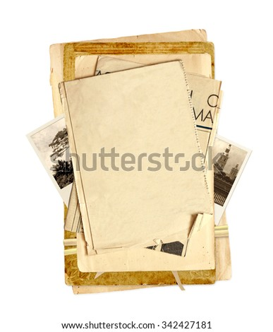 Old paper and vintage photos. Objects isolated on white background. Can be used for retro or scrapbooking design