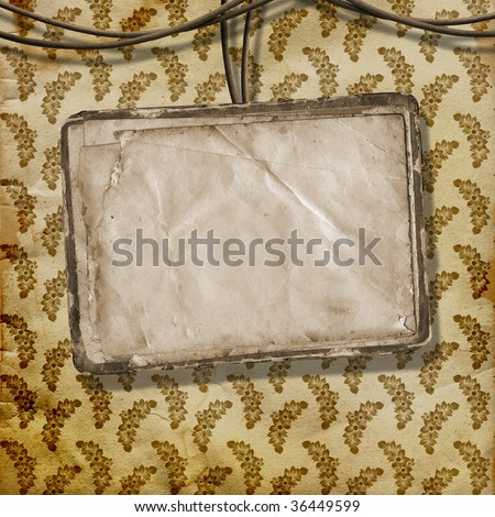 Old paper are hanging in the row on the vintage background - stock photo
