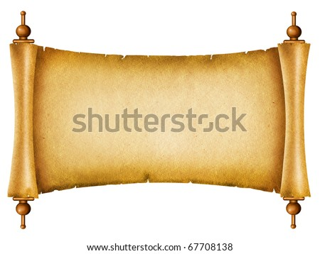 Old paper background.Antique scroll on white - stock photo
