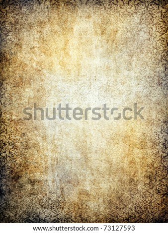 Old paper background with ornament. - stock photo