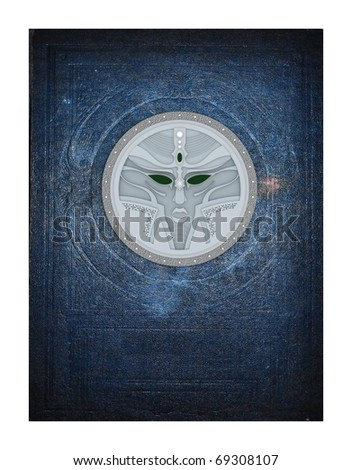 old paper book cover with character metal signet texture