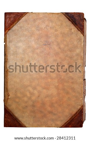 Old paper book cover with space for text or image