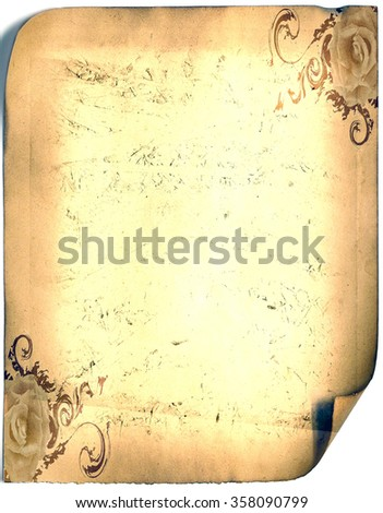 old paper card, gold paper for writing, or background, illustration, vintage scroll