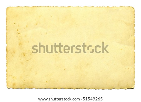 Old paper card isolated on white background