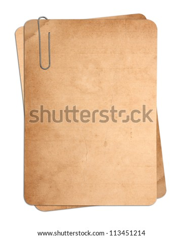 old paper cards with clip isolated on white