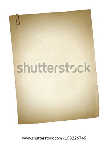 old paper cards with clip isolated on white  , with clipping path - stock photo