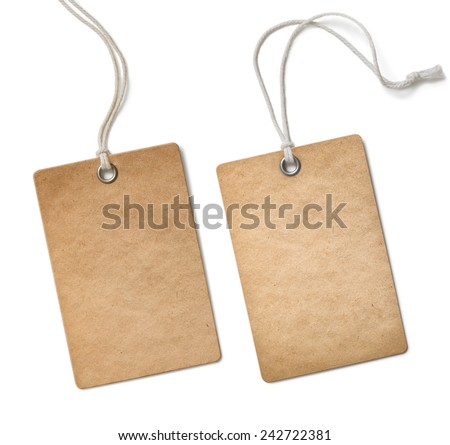 old paper cloth tag or label set isolated - stock photo
