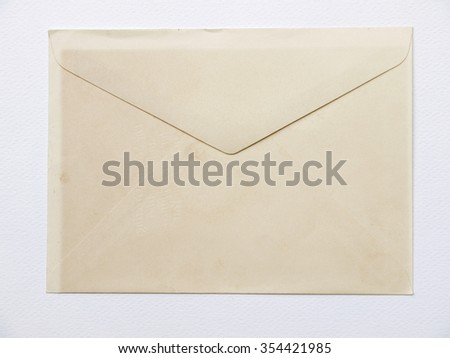 Old paper envelope on white background