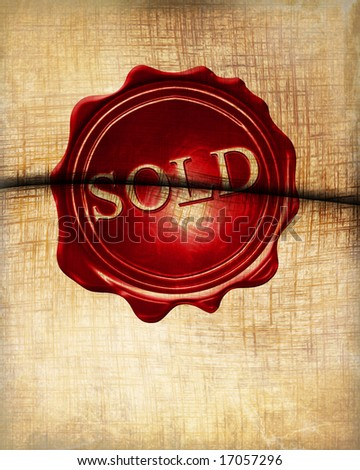 Old paper envelope with some soft shades and wax seal - stock photo