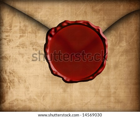 Old paper envelope with wax seal