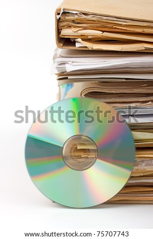 Old paper files and modern cd archive