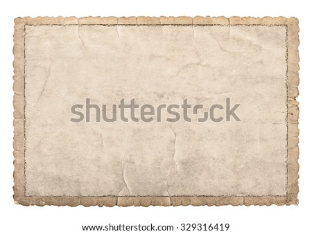 Old paper frame with carved edges for photos and pictures. Used cardboard texture isolated on white background - stock photo