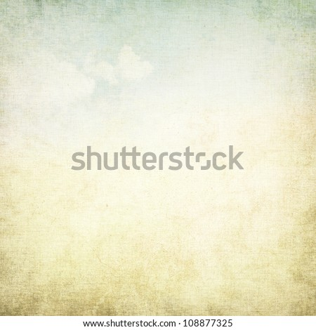 old paper grunge background with delicate abstract canvas texture and blue sky view - stock photo