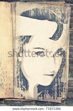 old paper grunge background with the girl - stock photo