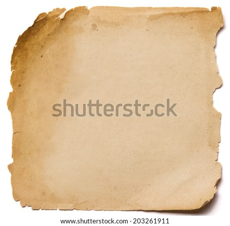 old paper grunge texture, empty yellow page isolated on white background  - stock photo